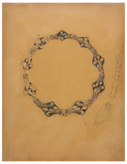 Design for a necklace with pairs of opposing fish with tails entwined in diamond shape on either side of opals.  Line drawing at lower right of one of pairs with inscription running diagonally above it.