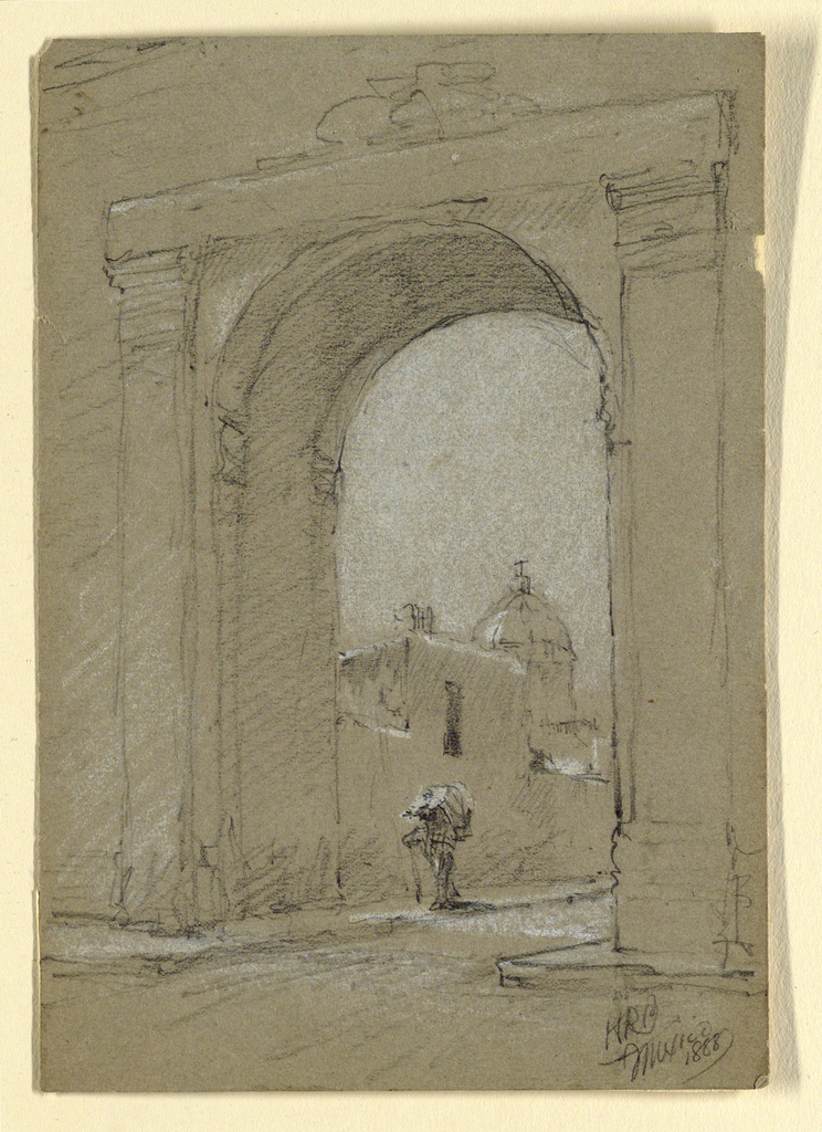 Verticle rectangle. Oblique view of a gate in a wall of a sidewalk in a street with a church. A man carrying a burden walks out. Written in the lower right corner: HRB / Mexico / 1888.