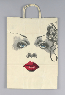 White bag for Bloomingdale's department store, on recto the main features of a woman's face depicted frontally in black with blue irises and red lips. Butterfly or floral ornament depicted above her left eye, perhaps a hair accessory. Verso features the same woman's face in three quarters profile.