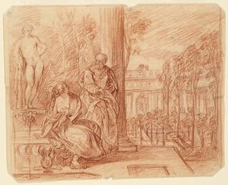 Drawing, David and Bathsheba, ca. 1700