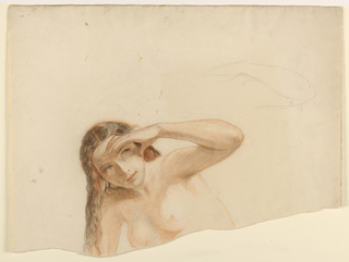Drawing, Female Nude with Left Han, ca. 1845