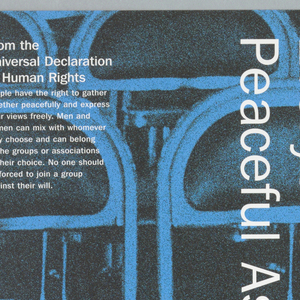 """Background of rows of folding chairs.  Image is colored in blue with white print.  Vertically reading down at center is """"Everyone has the Right to Peaceful Assembly"""".  On top left corner is """"Article 20"""" printed from the Universal Declaration of Human Rights."""
