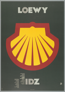 "Exhibition poster for work of Raymond Loewy at Akademie der Künste in Berlin. Imprinted in gray, across top: ""LOWEY"".  Large reproduction of logo for Shell Corporation: image of stylized upside down shell in yellow with red outlines.  Text about exhibition and artist at lower left in two columns.  Imprinted in gray, center bottom: ""IDZ""."
