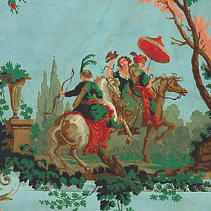 Arabesque with two scenes: one of hunting party of three on horse, the other of landscape with architecture; surround of acanthus scrolls and floral swags. Printed on joined sheets of handmade paper.