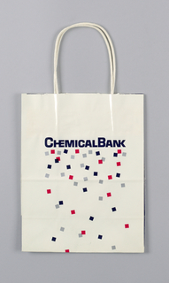 """Chemical Bank"" in dark blue; red and silver confetti shapes as background."
