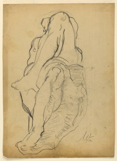 """Study for sculpture group. Recto: """"Day"""" seen from the feet. Drawn from a plaster cast. Verso: Study of the same sculpture from beneath."""