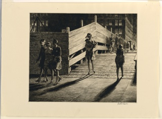 horizontal rectangle - night scene - pedestrians cross a temporary wooden bridge adjoining building construction - three women walk together, left foreground
