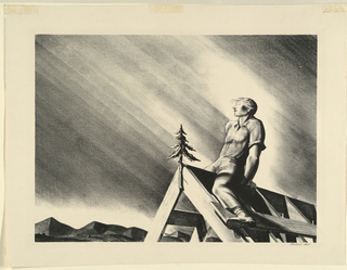 In right foreground, a man sits atop frame of roof, straddled and facing toleft at an oblique angle. Before him is a small coniferous tree which is attached to roof gable. In background is mountain range under a light- streaked sky.