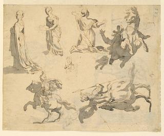 Studies of women, kneeling figure, and figures on horseback.