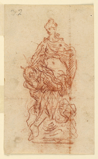 Vertical format. A woman is shown standing between two figures.  Her right hand covers something carried by the left one, possibly a jar.  The upper part of another figure is shown beside her left foot.