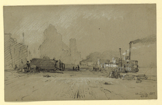 Horizontal rectangle. Vista toward a huge warehouse in the back center. A steamer lies at its moorings in the right middle plane. Signed in the lower right corner: St. Louis 1887 / HRB.
