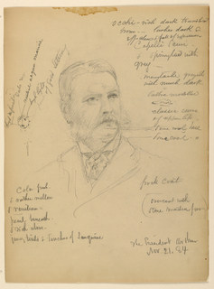 Drawing, President Chester Alan Ar, November 21, 1884