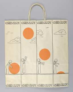 "Recto: Unisex image of child playing with large orange ball repeated ten times vertically on white, with ""CHILDCRAFT"" in outline. Verso: Same design of balls, with clouds. Side panels: Store locations."