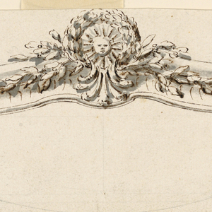 Only the curved cresting; below, moulding with ovolo design. Center: laurel medallion with head of sun at the edges, branches of laurel. The outline of the lower part sketched in graphite.