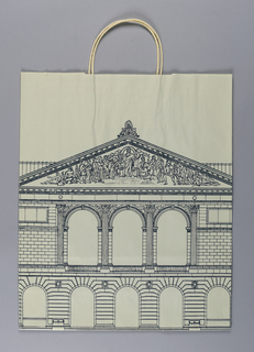 """The Museum Shop, The Art Institute of Chicago"" on gray background; rendering of façade of The Art Institute of Chicago."
