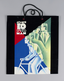 Aramis 10-Speed Man on glossy paper. Art Deco style drawing of man with phone on bike; black background.
