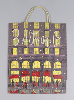 """B. Altman & Co."" logo over sketch of storefront in twilight snowfall;  grey, yellow, and lilac."
