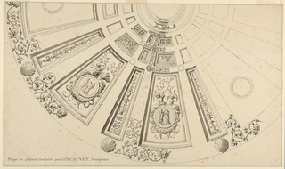 This cofferred dome ceiling has a skylight at the center. Ciruclar medallions frame classical scenes in the widest panels and organic matter border the edges.