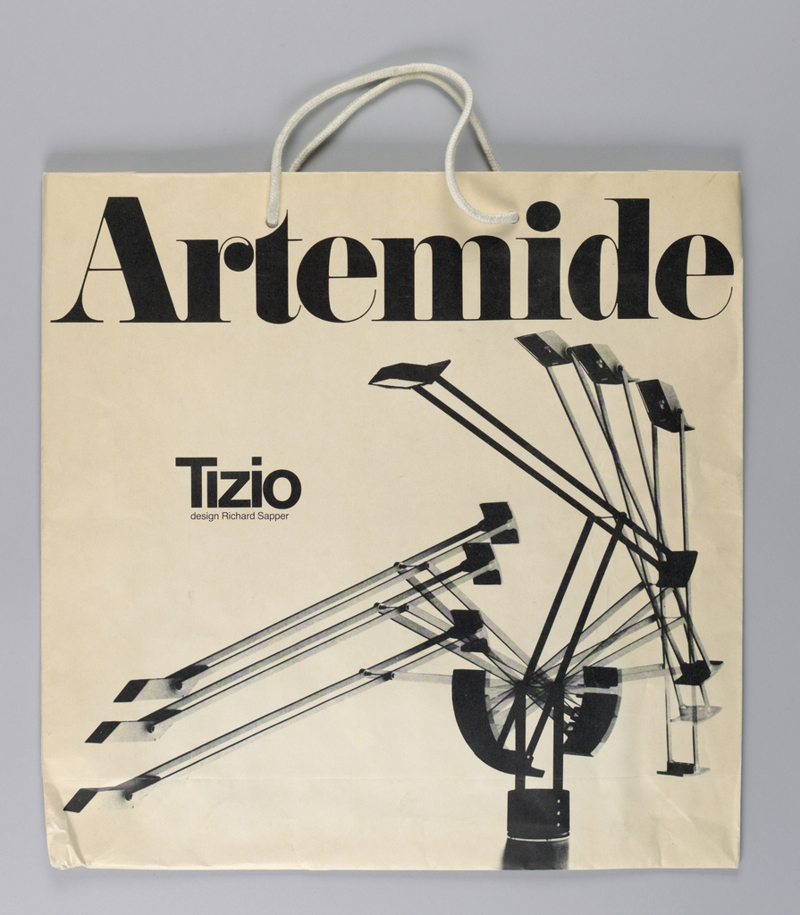 """Black and white photos on white background  of metal folding floor lamp in various positions. """"Artmide-Tizio"""" in red across bottom."""