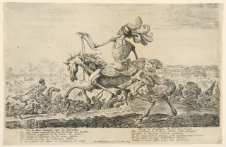 Two Deaths on horseback, others on foot in action. Two volumns of vines in the bottom margin.
