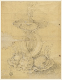 Design for a centerpiece to be executed in metal; four intertwined tails of dolphins support four shells. Figures of putti holding reeds sit upon the dolphins' heads. Another child bearing a trident stands upon the shells, above.