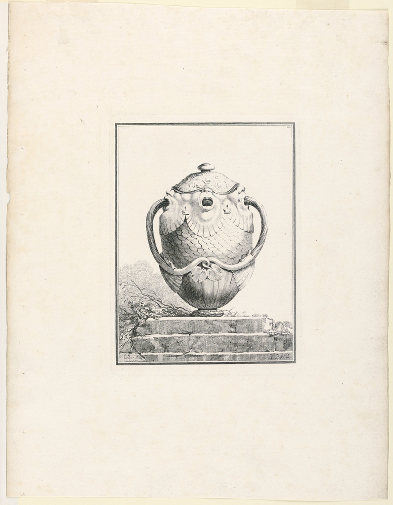 Print, Covered Vase with Grotesq