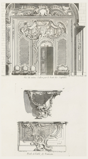Salon decoration includes putti, C-curves; trompe l'oeil with cartouche and portrait of a woman held and surrounded by putti, flowers, rocaille; below this, shell over door which is flanked by two mirrors; left, three chairs, right, a settee.