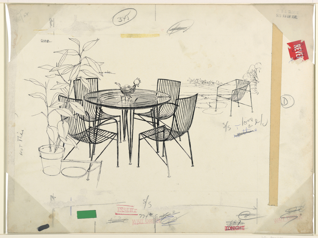 Outdoor glass table and wire chairs