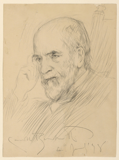 Bust portrait of Abram S. Hewitt (1822-1903) seated in a chair, facing to the left, with his right hand raised to his head.
