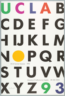 """White ground, printed in rows; starts with UCLA, across upper row, imprinted in green, pink, blue, and red respectively, then letters B-Z, across entire page, imprinted in black ink. Letter """"O"""", is a circle filled in orange, lower left quadrant; title and year below """"O,"""" imprinted in black ink. School name and phone number, lower right quadrant, imprinted in black. Numbers 9 3, last row, next to Z, lower right corner, imprinted in green and blue respectively."""