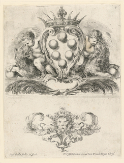 "Ornament with a lion mask. No. 6 of the same set as -10, ""Raccolta di varii  cappriccii,"" etc."