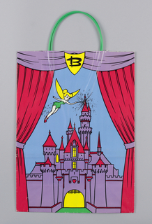 "Recto: Stage with red curtain presenting the Disney castle, as in Fantasyland, in purple with red rooftops and Tinkerbell, the Disney fairy, flying with wand; ""B"" is in plaque, centrally placed above the stage.  Verso: Mickey Mouse pops his head out between the closed stage curtains.   On side panel, the words in white ""The Tradition of Giving."""