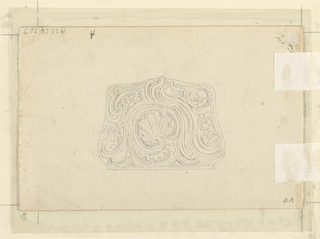 Snuff box decorated with scrolls, shell, and flower boughs.  At left, small-sized and rough graphite sketch of statue;  verso, vertically suspended from a bowknot and showing stag, boar, bird, spear and horn, with caption: Saverne f d'après J.B. Oudry dont l'original est à M. de S (...?).