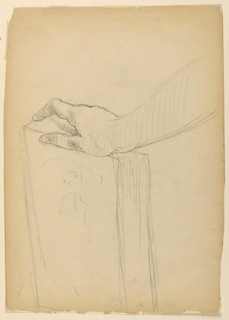 Study of right hand and arm, from the right, resting on an upright book. Verso: Outline of upper torso and arms of Bacchante with tambourine.