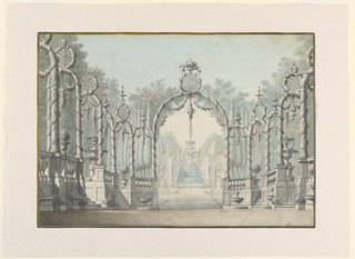 Drawing, Stage Design of a Garden Setting with Fountains and Arbors
