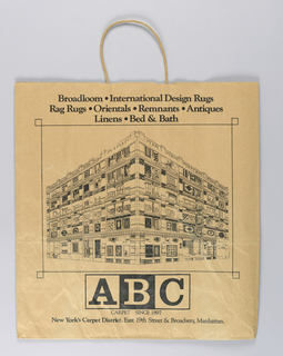 Black image of ABC Carpet store façade on natural brown paper.