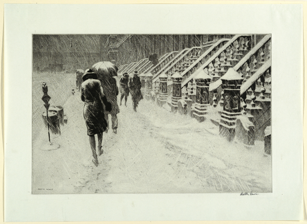 Print, Stoops in Snow