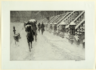 A New York City sidewalk with figures, some carrying umbrellas, walking in the driving snow.  At right, a long row of stoops, similar in design, all covered with snow.