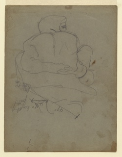 """Study for sculpture group. """"Day"""" seen from the back, roughly sketched. Drawn from a plaster cast."""