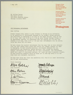 Poster design modeled on an actual letter sent from the New York offices of the design firm Pentagram to Jeffery Ryan. The body of the letter is printed in black and begins with date in Upper left corner and fills sheet. Below body of the letter, in black, are the printed signatures of the principles. Pentagram's return addresses are printed in red at upper right.