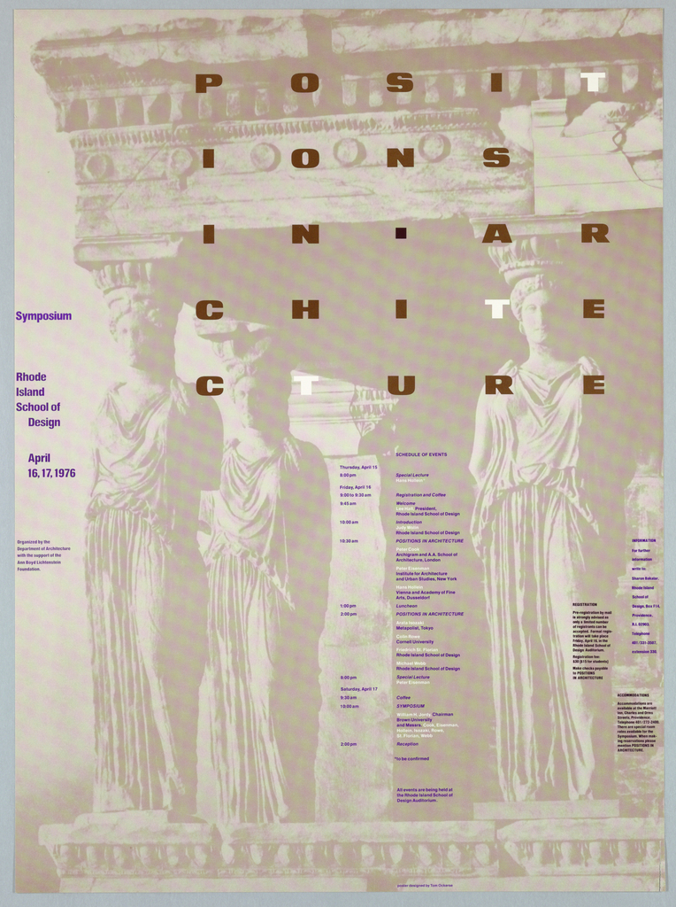 Poster, Positions in Architecture, 1976