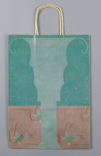 Shopping bag featuring a light turquoise, abstract, classical vase or urn in the center, with yellow trim along the top. Light green plant forms, grouped with red and blue linear forms and small, yellow squares, are shown at the bottom. The background of the top 2/3 of the design is dark turquoise with yellow dots, while the bottom 1/3 is light pink.