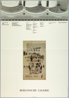 "Poster, ""Raoul-Hausmann- Archiv"": for exhibition at Berlinsche Galerie June 4, 1992 - July 19, 1992, 1992"