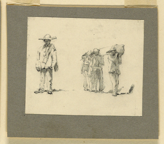 Horizontal rectangle. At left, a standing man is shown from the front. At right, four men carry a shorn log on their shoulders.