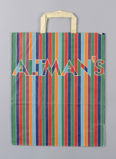 "Multicolor vertical stripes.  ""Altman's"" in upper third of bag."