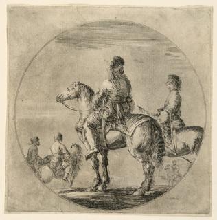 Five horsemen in a circle.