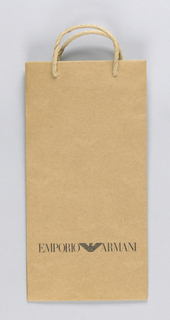 """""""Emporio Armani"""" in black at lower center with logo on natural brown paper."""