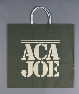 """Gray bag with stenciled """"ACA"""" name in white in center."""