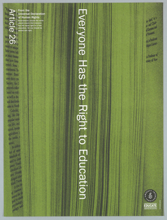 "Background of book pages being opened. Image is colored in green with white print.  Vertically reading down at center is ""Everyone Has the Right to Education"".  On top left corner is ""Article 26"" printed from the Universal Declaration of Human Rights."