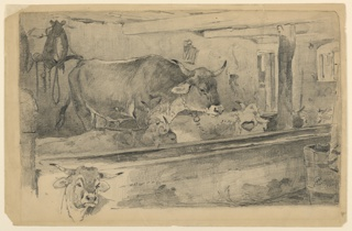 Interior view of a cattle shed showing an ox facing right and four resting cows at a feeding trough. At lower left, a graphite sketch of a head of an ox.